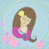 妈妈轻轻地拥抱婴孩在轻的背景的图片油漆 免版税库存照片