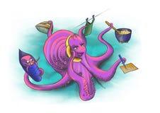 妈妈Octopussy参与种田 图库摄影
