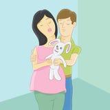 妊妇和父亲 库存照片