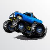 妖怪卡车自行车前轮离地平衡特技蓝色 免版税图库摄影