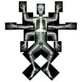 妖怪安排许多武装 (X-射线整体:顶头脖子肩膀胳膊前臂手肘腕子手数字胸部肋骨肺心脏脊椎abdom 库存图片