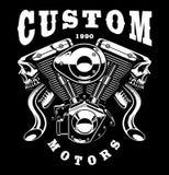 妖怪引擎在黑暗的背景的T恤杉设计 库存照片