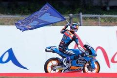 妖怪能量Catalunya MotoGP格兰披治  优胜者moto3亚历克斯Marquez 埃斯特里拉加利西亚茶 库存照片