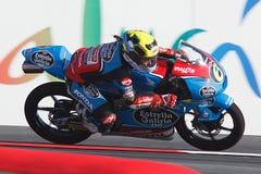 妖怪能量Catalunya MotoGP格兰披治  司机玛丽亚赫雷拉 埃斯特里拉加利西亚队 Moto3 免版税库存照片
