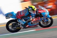 妖怪能量Catalunya MotoGP格兰披治  司机玛丽亚赫雷拉 埃斯特里拉加利西亚队 Moto3 免版税库存图片