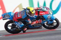 妖怪能量Catalunya MotoGP格兰披治  司机玛丽亚赫雷拉 埃斯特里拉加利西亚队 Moto3 库存照片