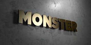 妖怪-在光滑的大理石墙壁登上的金标志- 3D回报了皇族自由储蓄例证 库存例证