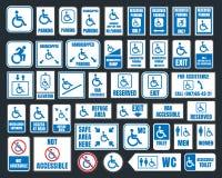 妨碍象、停车处和洗手间标志,残疾人 免版税库存图片