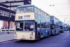 戴姆勒Fleetline公共汽车在沃尔索尔, 1970年 免版税库存照片