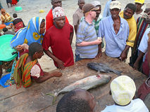 姆特瓦拉,坦桑尼亚- 2008年12月3日:鱼市。 免版税图库摄影