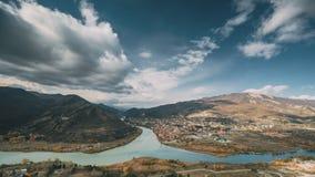 姆茨赫塔乔治亚 古镇顶视图地平线位于河Mtkvari库纳河,Aragvi的合流谷  影视素材