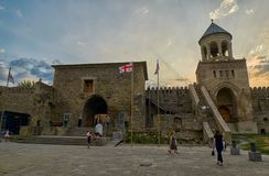 姆茨赫塔,乔治亚- 2017年7月31日:Mt的Svetitskhoveli大教堂 免版税库存照片