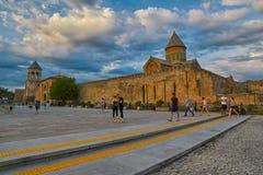 姆茨赫塔,乔治亚- 2017年7月31日:Mt的Svetitskhoveli大教堂 库存图片