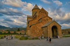 姆茨赫塔,乔治亚- 2017年7月31日:Mt的Svetitskhoveli大教堂 库存照片