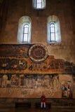 姆茨赫塔,乔治亚- 2016年10月4日:关闭在内部, Svetitskhoveli正统大教堂的黄道带在姆茨赫塔,乔治亚 库存照片