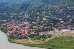 姆茨赫塔,有许多的城市鸟瞰图  免版税库存图片