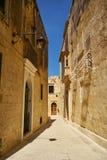 姆迪纳狭窄的街道,马耳他的老首都 免版税库存图片