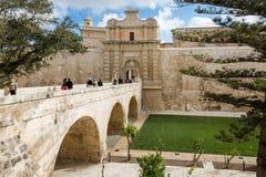 姆迪纳,马耳他- 2016年5月04日:对中世纪镇的门户 图库摄影