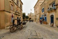 姆迪纳,马耳他,街道视图 免版税库存图片