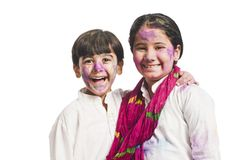 姐妹和兄弟微笑 免版税图库摄影