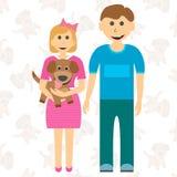 姐妹和小狗的愉快的儿童兄弟 作梦狗 向量 库存例证