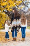 姐妹家庭画象在黄色秋天公园 免版税库存图片