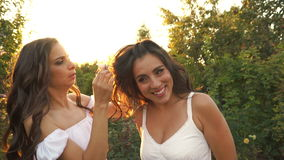 姐妹去掉从她的姐妹` s头发的簪子 股票视频