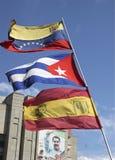 委内瑞拉、古巴和委内瑞拉普遍的单位旗子集会UPV 库存照片