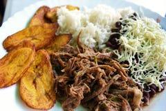 委内瑞拉人典型的盘叫Pabellon,由切细的肉、黑豆、米、油煎的大蕉切片和咸乳酪制成 免版税库存照片