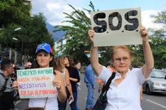 委内瑞拉停电:抗议在停电的委内瑞拉发生 免版税图库摄影