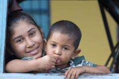 委内瑞拉典型的家庭,圣埃伦娜画象  免版税库存照片