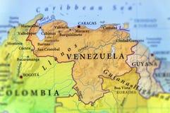委内瑞拉国家地理地图有重要城市的 免版税库存照片