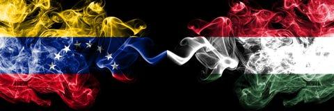 委内瑞拉对匈牙利,肩并肩被安置的匈牙利发烟性神秘的旗子 委内瑞拉和匈牙利的厚实的色的柔滑的烟旗子, 向量例证