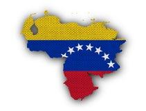 委内瑞拉的地图和旗子老亚麻布的 库存例证