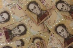 委内瑞拉货币金钱Bolivares Bs 100现金 图库摄影