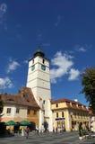 委员会塔在锡比乌,罗马尼亚 库存图片