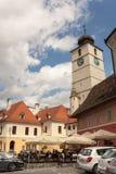 委员会塔在锡比乌,罗马尼亚 免版税库存图片