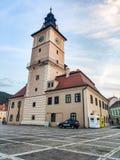 委员会正方形和前市政厅,布拉索夫,特兰西瓦尼亚,罗马尼亚 库存照片