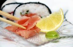 姜、柠檬和wasabi 免版税库存图片