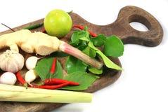姜、高良姜、大蒜、青葱、非洲黑人石灰和辣椒 免版税库存图片