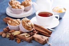 姜和坚果糖粉奶油细末松饼用冬天香料 库存图片