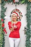 姜曲奇饼 华而不实的屋、姜饼人、星和冷杉木在木背景 美丽的白肤金发的女孩年轻人 免版税库存图片