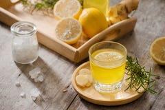 姜汁无酒精饮料-自创柠檬和姜有机苏打喝,复制 库存照片