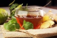 姜茶用薄菏和柠檬 免版税库存照片