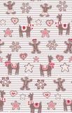 姜饼人和骆马无缝的传染媒介样式在条纹背景 逗人喜爱的传染媒介背景为新年 库存例证