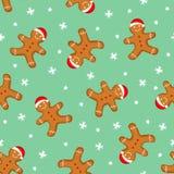 姜饼人无缝的样式 逗人喜爱的传染媒介背景为新年,圣诞节,寒假 图库摄影