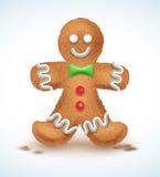 姜饼人装饰了色的结冰 在形状的假日曲奇饼  定性传染媒介例证为新年s天 库存照片
