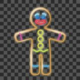 姜饼人霓虹灯广告的传染媒介例证在透明背景的 在风格化人形状的曲奇饼  免版税库存照片