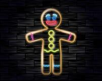 姜饼人霓虹灯广告的传染媒介例证在黑砖背景的 在风格化人形状的曲奇饼  免版税库存照片