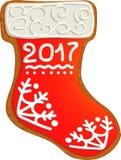 姜饼圣诞节袜子 图库摄影